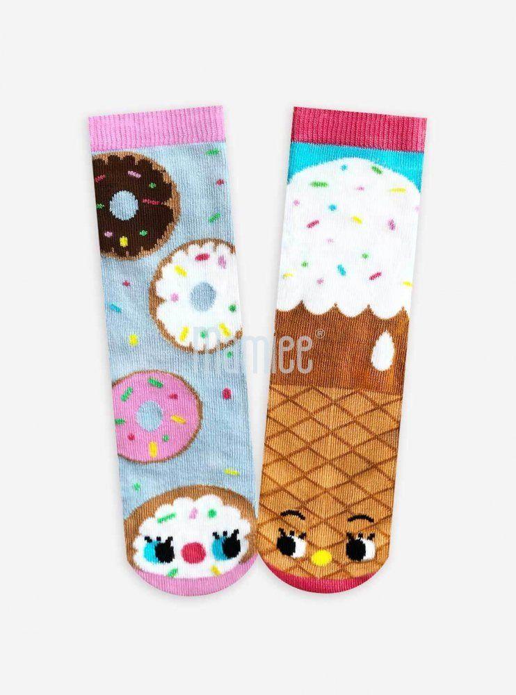 Veselé protiskluzové ponožky Donut a Zmrzlina- umělecká série Pals socks