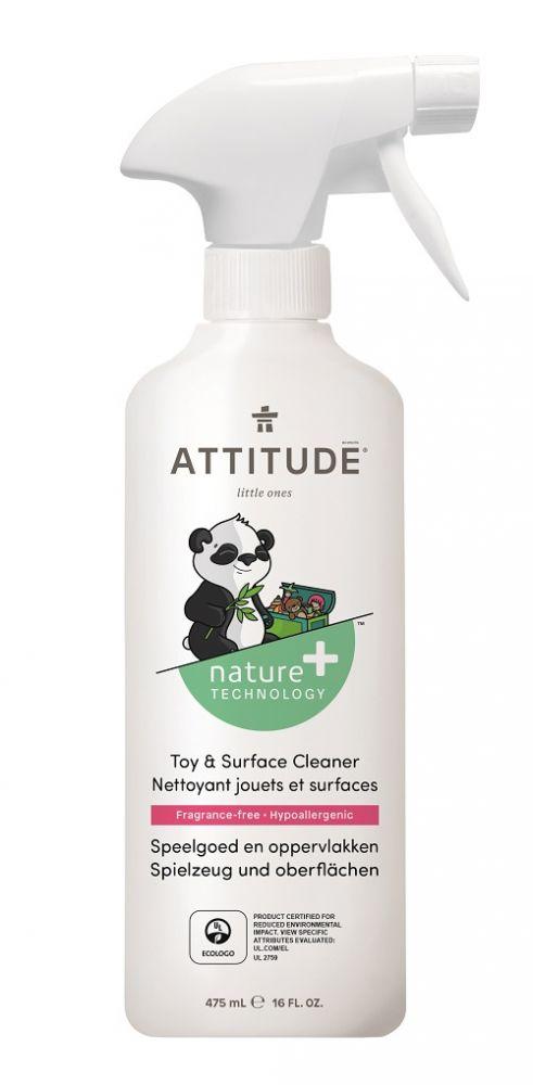 Čistící prostředek na dětské povrchy/hračky bez vůně s rozprašovačem Attitude 475 ml