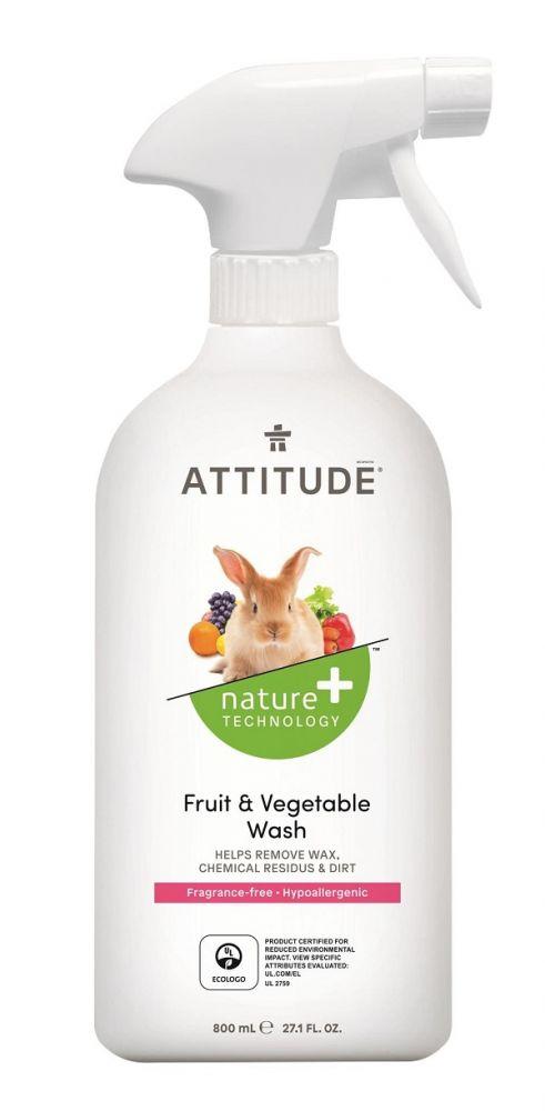 Čistící prostředek na ovoce a zeleninu bez vůně s rozprašovačem Attitude 800ml