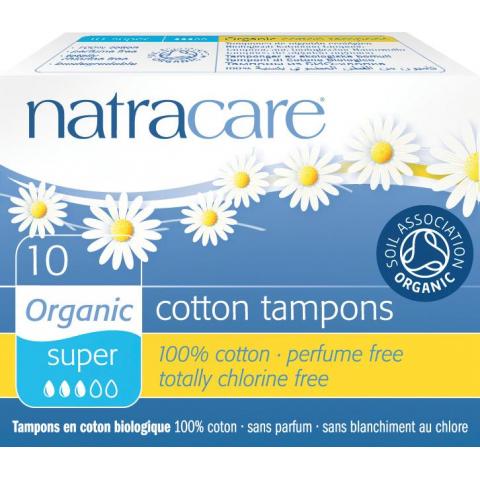 Dámské tampóny Super bez aplikátoru Natracare  10 ks