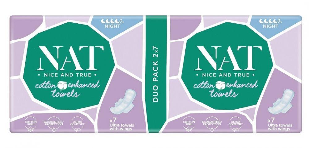 NAT nice & true Dámské vložky s bavlnou - noční 14 ks