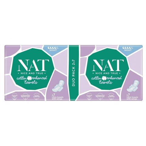 Dámské vložky s bavlnou - noční NAT nice & true 14 ks