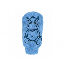 Dětská mycí žínka - bavlna - velká - s obrázkem Hrošíka, modrá Förster´s