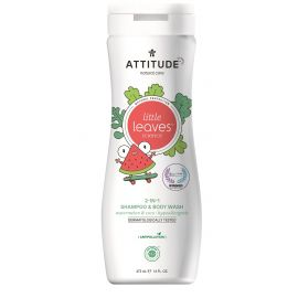 Dětské tělové mýdlo a šampon (2v1) s vůní melounu a kokosu Attitude Little leaves 473ml