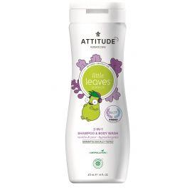 Dětské tělové mýdlo a šampon (2v1) s vůní vanilky a hrušky Attitude Little leaves 473ml