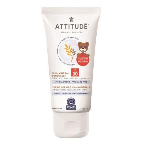Dětský 100% minerální opalovací krém (SPF30) pro citlivou a atopickou pokožku bez vůně Attitude 75g