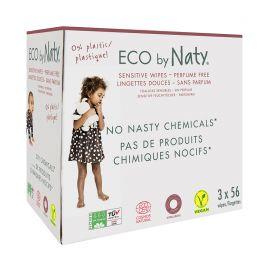 ECO vlhčené ubrousky bez vůně - pro citlivou pokožku - výhodné balení Naty 3 x 56 ks