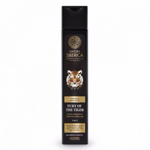 Energizující šampon na vlasy a tělo 2 v 1 «Nezkrotnost tygra» Natura siberica 250 ml