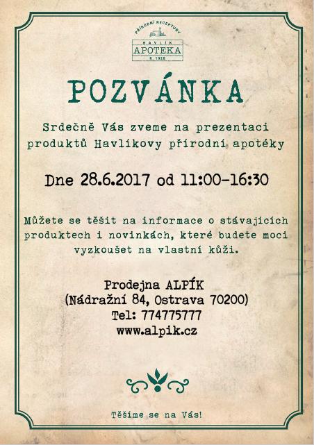 Pozvánka na prezentaci Havlíkovy Apoteky do Alpiku