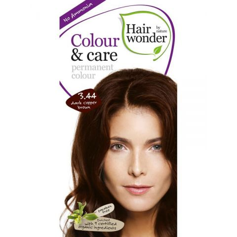 Barva TMAVĚ MĚDĚNÁ  HNĚDÁ 3.44 přírodní dlouhotrvající BIO Hairwonder