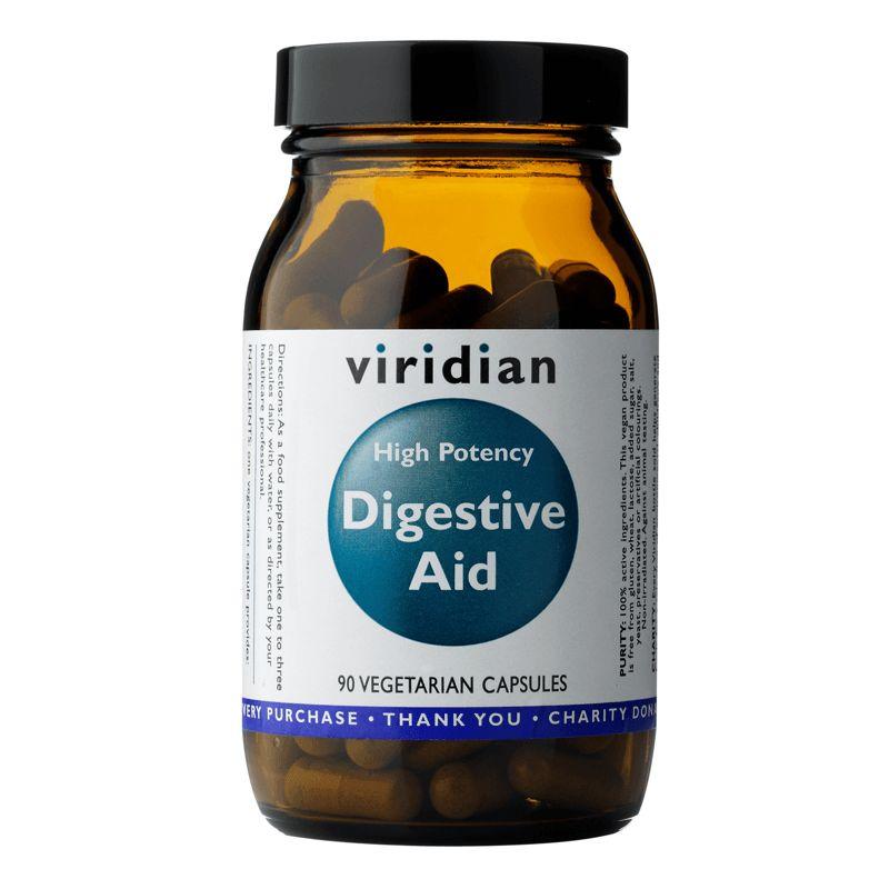 Viridian High Potency Digestive Aid (Enzymy, betain, zázvor a máta) 90 kapslí