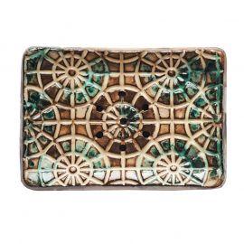 Keramická mýdlenka geometrická - hnědo-zelená Almara Soap
