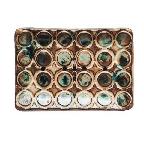 Keramická mýdlenka hvězdy s kruhy - hnědo - zelená Almara Soap