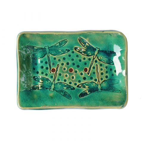 Keramická mýdlenka vážky - mint-zelená Almara Soap
