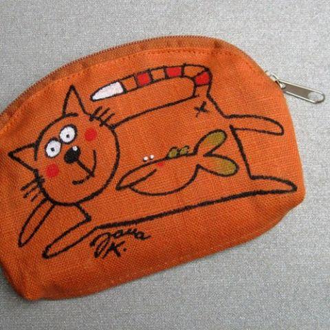 Kosmetická taška lněná Oranžová malá