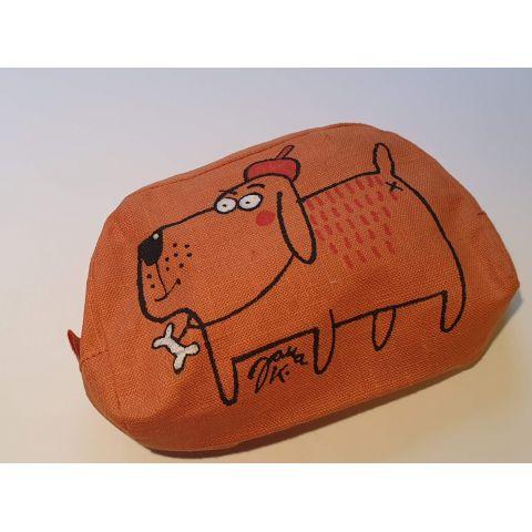Kosmetická taška lněná Oranžová velká
