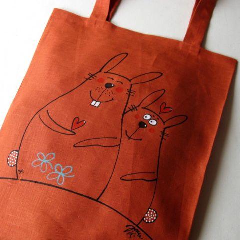 Nákupní taška lněná Oranžová