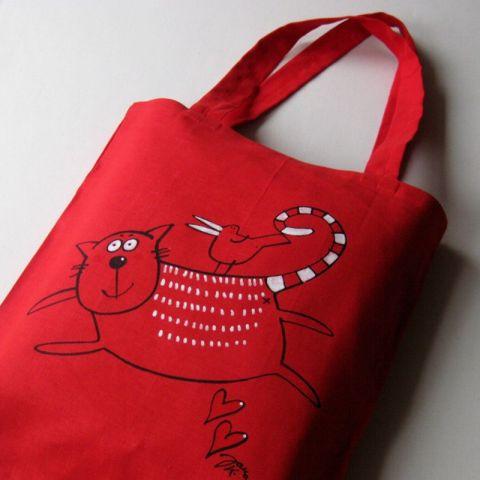 Nákupní taška lněná Červená