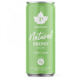 Natural Energy Drink green apple (Energetický nápoj - zelené jablko) Puhdistamo 330ml