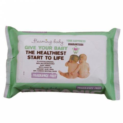 Organické vlhčené ubrousky bez vůně Beaming baby 72 ks