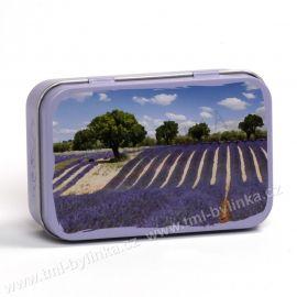 Plechová krabička na mýdlo s motivem CHAMP LAVANDE (Levandulové pole) La Maison