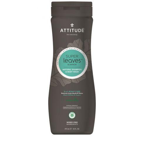 Přírodní pánský šampón & tělové mýdlo (2v1) s detoxikačním účinkem - proti lupům Attitude Super leaves 473ml