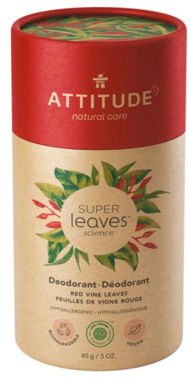 Přírodní tuhý deodorant Super leaves Červené vinné listy Attitude 85g