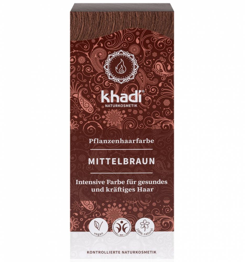 Rostlinná barva na vlasy Středně hnědá Khadi 100g