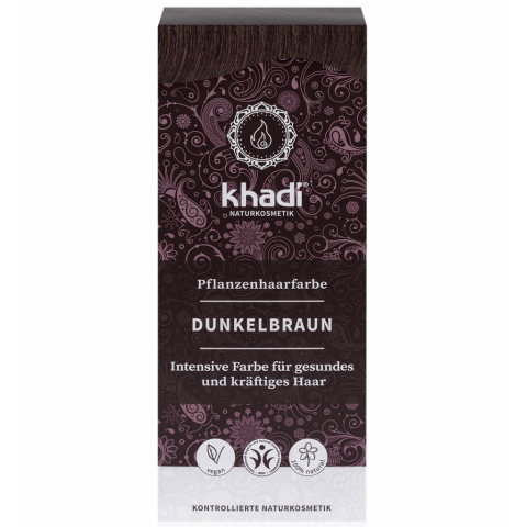 Rostlinná barva na vlasy Tmavě hnědá Khadi  100g