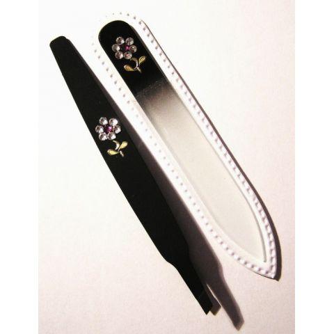 Sada Černá Skleněný pilník + pinzeta