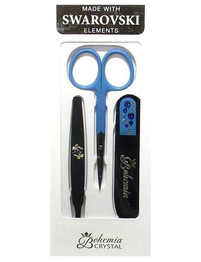 Sada Modrá Skleněný pilník + nůžky + pinzeta