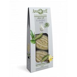 Sada mýdel olivový olej & oslí mléko Aloe Vera & Vanilka Aphrodite 170 g