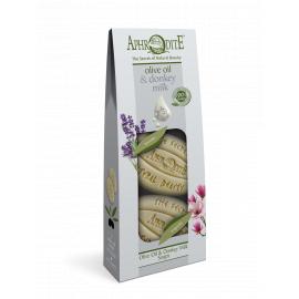 Sada mýdel olivový olej & oslí mléko Levandule & Magnolie Aphrodite 170 g