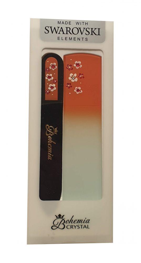 Sada Oranžová Skleněný pilník na nehty + škrabka na paty