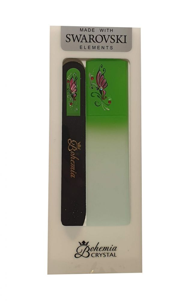 Sada Zelená Skleněný pilník na nehty + škrabka na paty