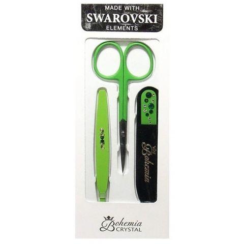 Sada Zelená Skleněný pilník + nůžky + pinzeta