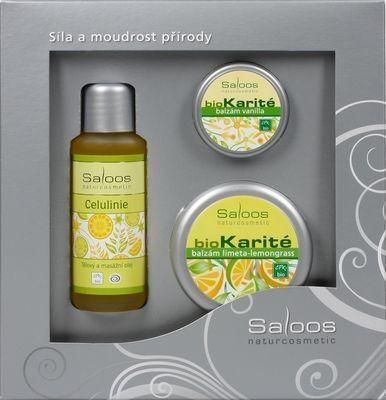 Saloos Citrus pro každodenní péči bio tělový a masážní olej Celulinie 50 ml + bio Karité balzám Limeta lemongrass 50 ml + bio Karité balzám Vanilla 19 ml dárková sada