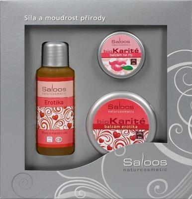Saloos Erotika Bio tělový a masážní olej 50 ml + Bio Karité balzám 50 ml + Bio Karité balzánm na rty 19 ml Dárková kazeta