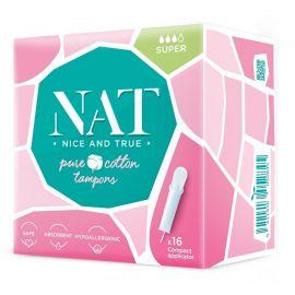 Tampóny z organické bavlny s aplikátorem - super NAT nice & true 16ks