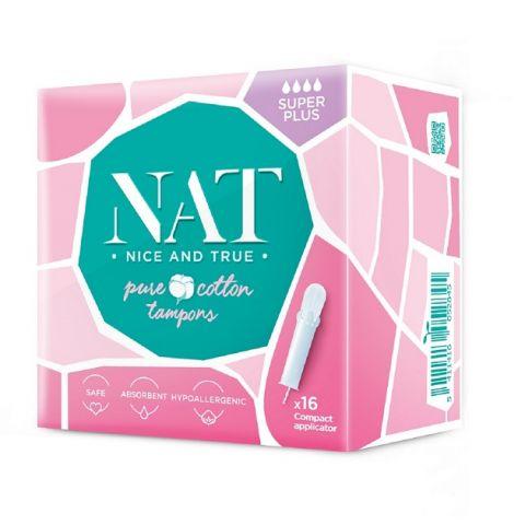 Tampóny z organické bavlny s aplikátorem - super plus NAT nice & true 16ks