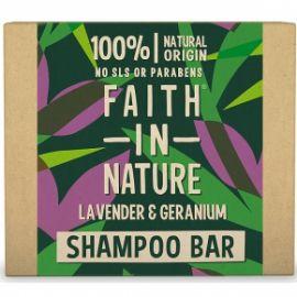 Tuhý šampon Levandule a pelargonie Faith in Nature  85g