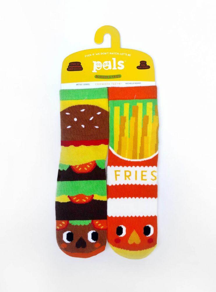 Veselé protiskluzové ponožky Burger a Hranolky - umělecká série Pals Socks